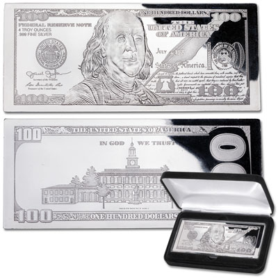Image for 2018 4 oz. Silver $100 Bill from Littleton Coin Company