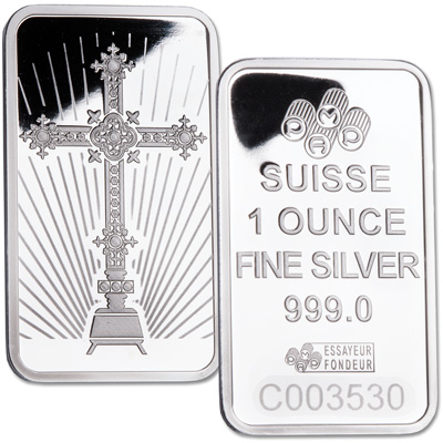Image for 1 oz. Romansesque Cross Silver Bar from Littleton Coin Company