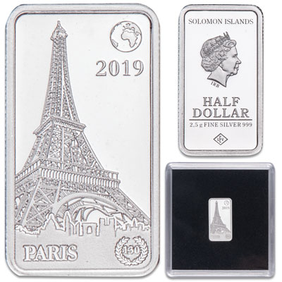 Image for 2019 Solomon Islands Silver 50 Cents Famous Landmarks - Paris, France from Littleton Coin Company