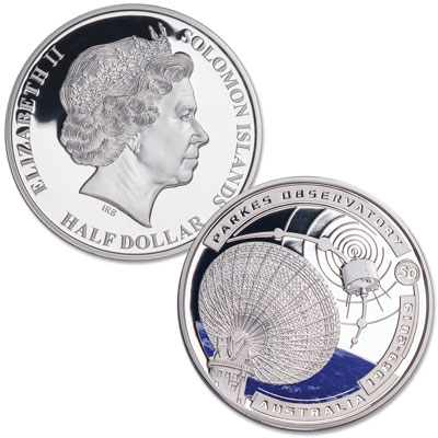 Image for 2019 Solomon Island Silver Plated Half Dollar Parkes Observatory Moon Landing from Littleton Coin Company