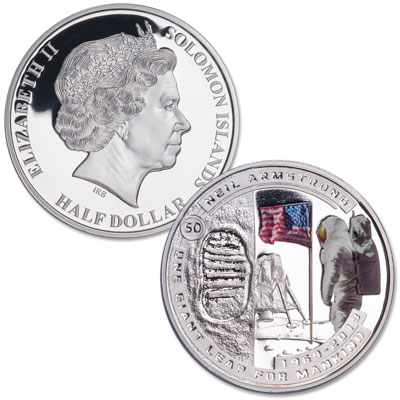 Image for 2019 Solomon Island Silver Plated Half Dollar Neil Armstrong Moon Landing from Littleton Coin Company