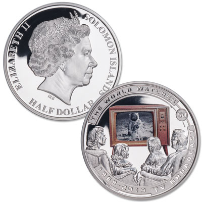 Image for 2019 Solomon Island Silver Plated Half Dollar TV Broadcast Moon Landing from Littleton Coin Company