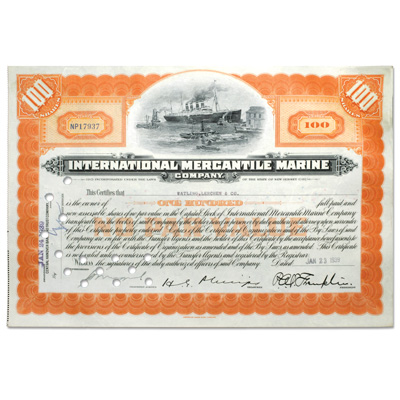 Image for 1920-1949 International Mercantile Marine Stock - Orange from Littleton Coin Company