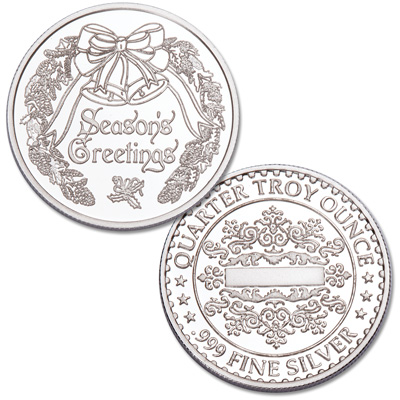 Image for 1/4 oz. Season's Greetings Silver Round - Silver Bells from Littleton Coin Company
