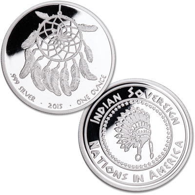 "Image for American Indian Prestige 1 oz. Silver Medal, ""Dream Catcher"" from Littleton Coin Company"