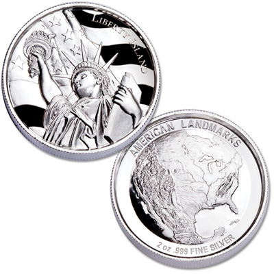 Image for 2 oz. Liberty Island Ultra High Relief Silver Round from Littleton Coin Company