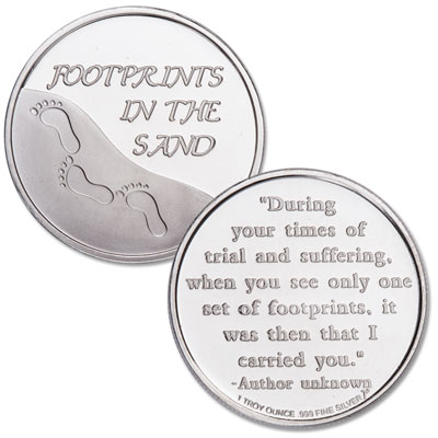 Image for 1 oz. Footprints in the Sand Silver Round from Littleton Coin Company
