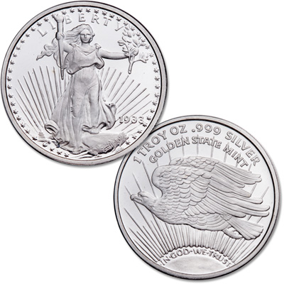 Image for Saint-Gaudens $20 Double Eagle 1 oz. Silver Round from Littleton Coin Company