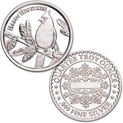 Image for Happy Holidays Silver Round - Cardinal from Littleton Coin Company