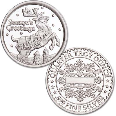 Image for Season's Greetings Silver Round - Reindeer from Littleton Coin Company