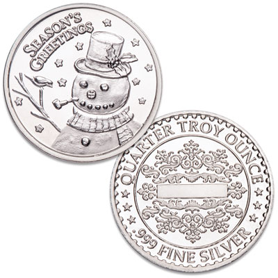 Image for Season's Greetings Silver Round - Snowman from Littleton Coin Company
