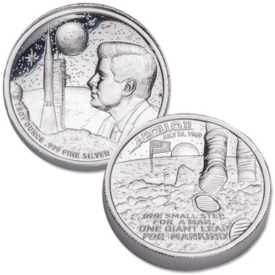 Image for Apollo 11 Moon Landing 2 oz. High Relief Silver Round from Littleton Coin Company