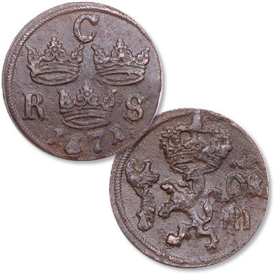Image for 1666-1686 Sweden Copper 1/6 Ore from Littleton Coin Company