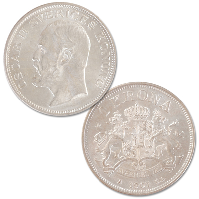 Image for 1907 Sweden Silver 1 Krona from Littleton Coin Company