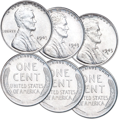 LINCOLN CENTS ZINC WWII SET 3 1943-P-D-S REPROCESSED
