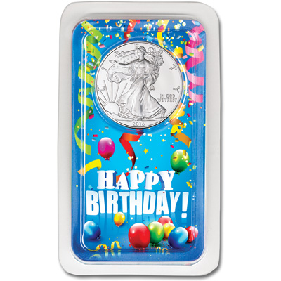 Image for 2016 Silver American Eagle in Happy Birthday Showpak from Littleton Coin Company