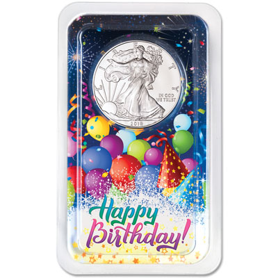 Image for 2018 Silver American Eagle in Happy Birthday Showpak from Littleton Coin Company