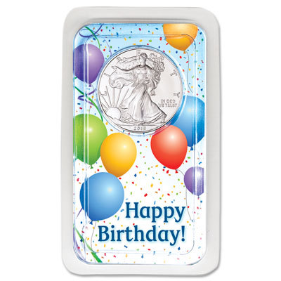 Image for 2019 Silver American Eagle in Happy Birthday Showpak from Littleton Coin Company