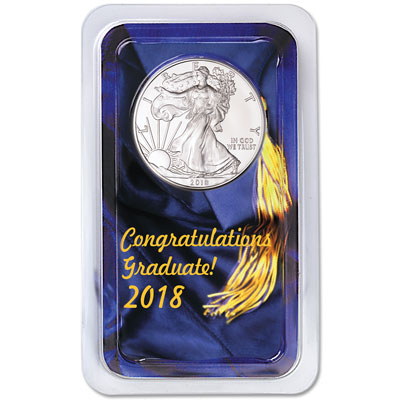 Image for 2018 Silver American Eagle in Graduation Showpak from Littleton Coin Company