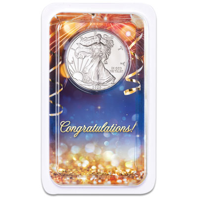 Image for 2020 Silver American Eagle in Congratulations Showpak from Littleton Coin Company
