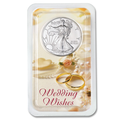 Image for 2017 Silver American Eagle in Wedding Wishes Showpak from Littleton Coin Company