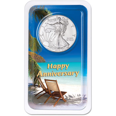 Image for 2013 Silver American Eagle in Anniversary Showpak from Littleton Coin Company