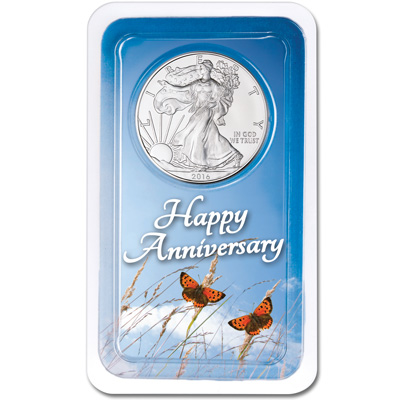 Image for 2016 Silver American Eagle in Anniversary Showpak from Littleton Coin Company