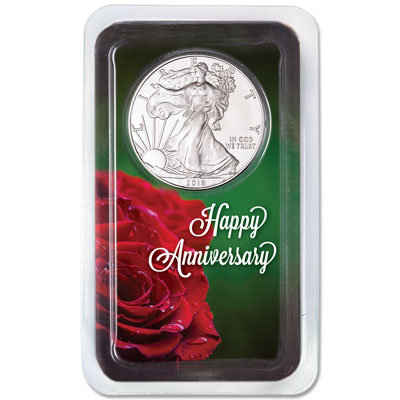 Image for 2018 Silver American Eagle in Happy Anniversary Showpak from Littleton Coin Company
