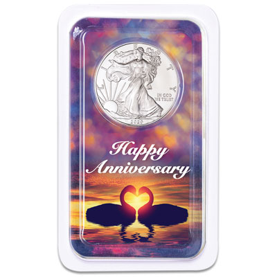 Image for 2020 Silver American Eagle in Happy Anniversary Showpak from Littleton Coin Company