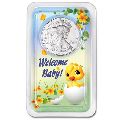 Image for 2017 Silver American Eagle in New Baby Showpak from Littleton Coin Company