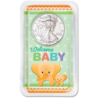 Image for 2018 Silver American Eagle in New Baby Showpak from Littleton Coin Company
