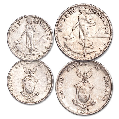 Image for 1937-1945 U.S. Philippines Silver 10 & 20 Centavos Set from Littleton Coin Company