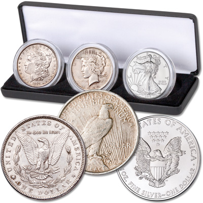 Image for 3 Centuries of Silver Dollars in Display Case from Littleton Coin Company