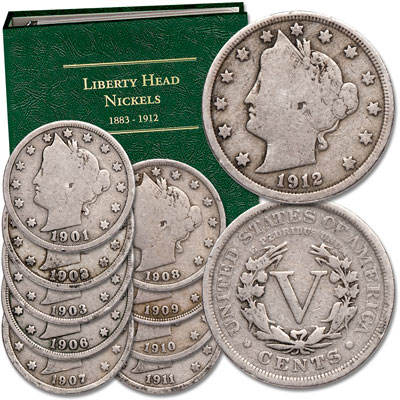 Image for 1901-1912 Liberty Head Nickel Set (10 coins) with Album from Littleton Coin Company