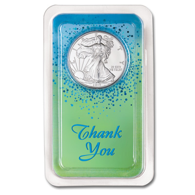 Image for 2017 Silver American Eagle in Thank You Showpak from Littleton Coin Company