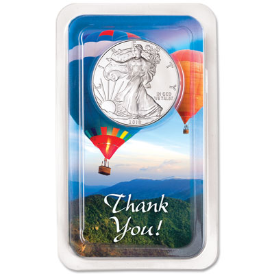 Image for 2018 Silver American Eagle in Thank You Showpak from Littleton Coin Company