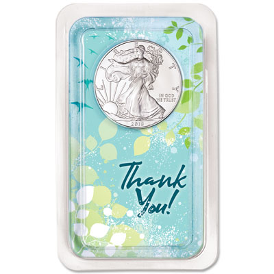 Image for 2019 Silver American Eagle in Thank You Showpak from Littleton Coin Company