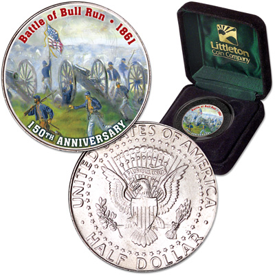 Image for 2011 Colorized Civil War Kennedy Half Dollar Battle of Bull Run from Littleton Coin Company