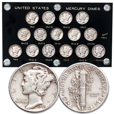 Image for 1941-1945 PDS Mercury Dime Set from Littleton Coin Company