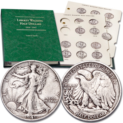 Image for 1941-1945 All-Mint Liberty Walking Silver Half Dollar Set from Littleton Coin Company