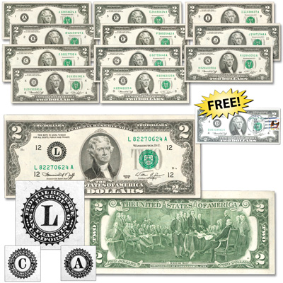 Image for 1976 $2 Federal Reserve Note Twelve Districts Set from Littleton Coin Company