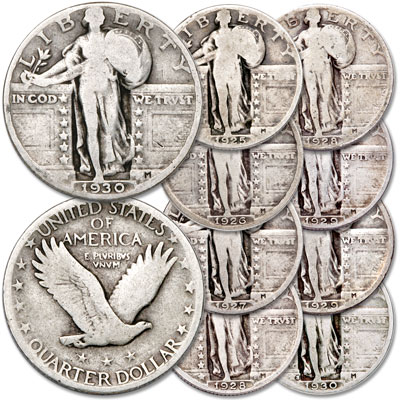 Image for 1925-1930 Standing Liberty Quarter Set (9 coins) from Littleton Coin Company