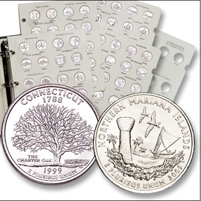 Image for 1999-2009 P&D Statehood, D.C. & U.S. Territories Quarter Set (112 coins) with Album from Littleton Coin Company