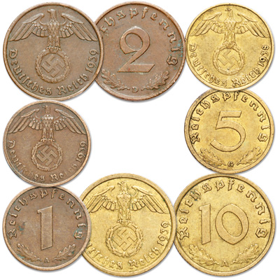 Image for 1936-1940 Germany Third Reich 1, 2, 5 & 10 Reichspfennig Set (4 coins) from Littleton Coin Company