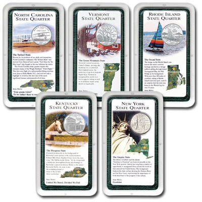 Image for All Five 2001 Statehood Quarter Showpaks from Littleton Coin Company