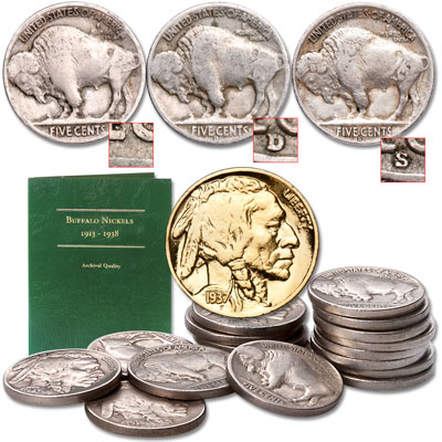 Image for Buffalo Nickel Collection (17 coins) with Folder from Littleton Coin Company
