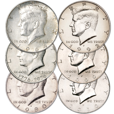 Image for Kennedy Half Dollar Decade Set (6 coins), Uncirculated from Littleton Coin Company