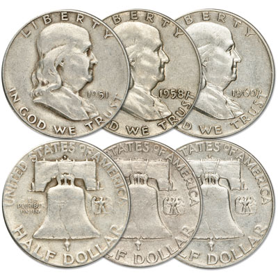 Image for All Mint Franklin Half Dollar Set (3 coins) from Littleton Coin Company
