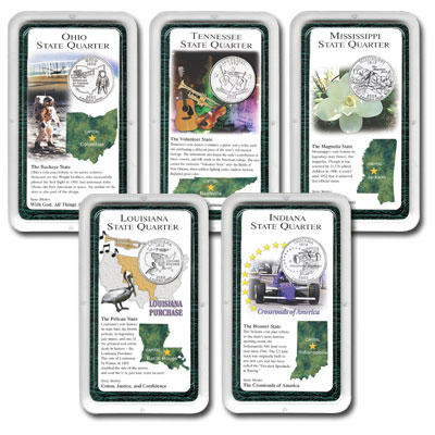 Image for All Five 2002 Statehood Quarter Showpaks from Littleton Coin Company