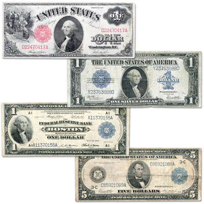 Image for 1914-1923 Large-Size Paper Money Type Set (4 notes) from Littleton Coin Company